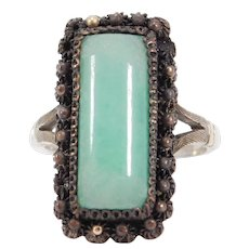Antique Jade Ring Silver And Copper Old Chinese