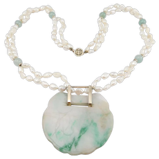 Old 14k And Carved Jade Lock Chinese Pendant Amulet With Necklace