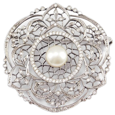Elegant French Hallmarks Large Paste Silver Brooch