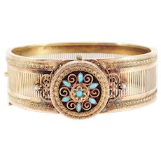 Victorian 14k Rose And Yellow Gold Persian Turquoise Bangle Bracelet