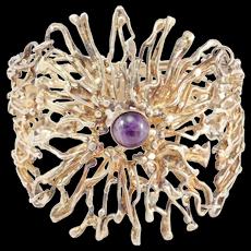 Silver Gilt Modernist Amethyst Bracelet Ornate Signed