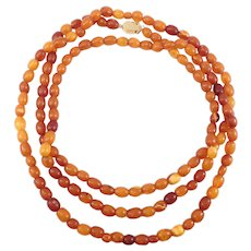 Old Baltic Amber Beads Butterscotch Egg Yolk Cognac Necklace 37 Grams