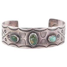 Early Silver Hand Stamped Navajo Cuff With Turquoise