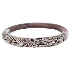 Antique Chinese Silver Rattan Dragon Repousse Bangle Bracelet
