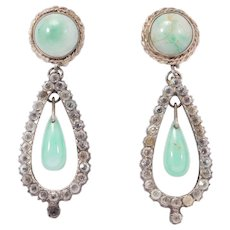 Antique Paste Silver Drop Earrings With Amazonite Beautiful