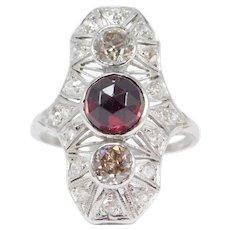 Platinum Diamonds Art Deco Ring 1 Carat Total Weight