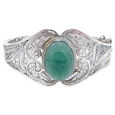Art Deco Filigree Ornate Carved Egyptian Scarab Bracelet