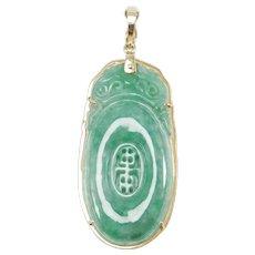 18k Natural Jade Carved Pendant Or Enhancer Estate Piece