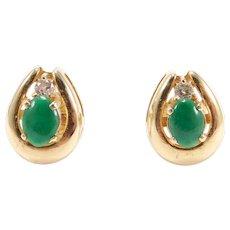 18k Fine Jadeite Earrings With Diamonds Estate