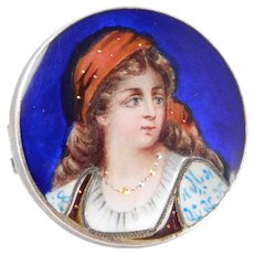 Superb French Enamel Portrait Brooch On Silver 1880's Rare