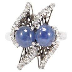 Estate Fine 14k Diamonds And Natural Star Sapphires Ring Unique