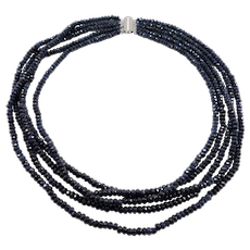 Estate Natural Sapphire Beads Necklace Five Strands Faceted