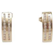 14k Channel Set Diamonds Estate Half Hoop Earrings