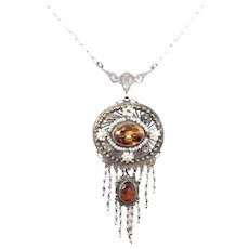 Antique Sterling Filigree Madeira Citrine Seed Pearl Lavalier Necklace