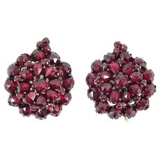 Victorian Bohemian Rose Cut Garnet Cluster Earrings