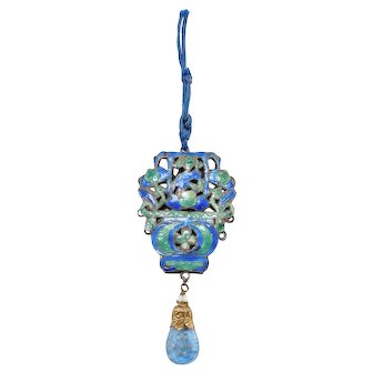 Early Cloisonne Silver Chinese Pendant Carved Peking Glass