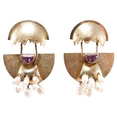 Modernist Amethyst Freshwater Pearl Vermeil Silver Earrings