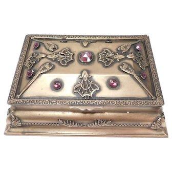 Beautiful Art Nouveau Brass And Czech Crystal Jewelry Box Dresser Box