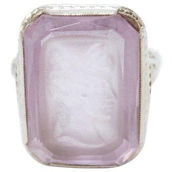 Rare 14k Amethyst Cameo Filigree Art Deco Ring Beautiful