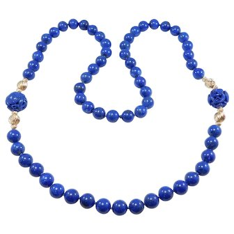 Gorgeous 10mm Lapis 14k Carved And Knotted Beads Necklace Estate