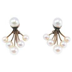 Art Deco 14k Cultured Pearl Earrings Estate Fine