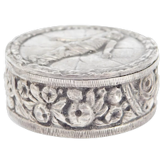 800 Silver Italian Ornate Antique Pill Box With Mummy