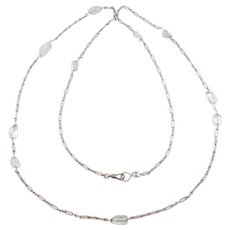 Art Deco Sterling Long Chain With Tourmaline Stones