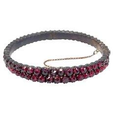Victorian Rose Cut Garnets Bangle Bracelet Silver Gilt