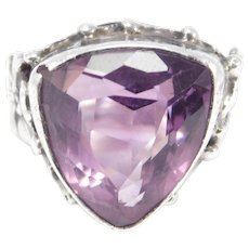 Vintage Large Diamond Shaped Amethyst Silver Floral Ring