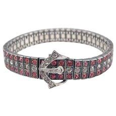 Art Deco Diamondback Paste Bracelet Sterling Rare Pink Color