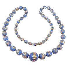 Antique Venetian Wedding Cake Glass Murano Beads Necklace