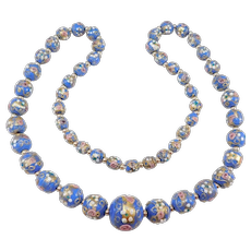 Antique Venetian Wedding Cake Glass Murano Beads Necklace