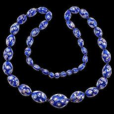 Rare Early Cobalt Millefiori Italian Glass Beads Necklace