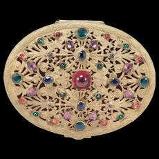 Antique Austrian Filigree Jewelry Box Stone Encrusted