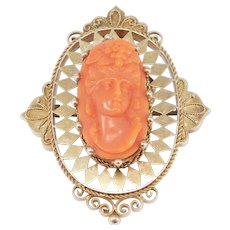 14k Victorian Carved Coral Cameo Etruscan Brooch Pendant 1880