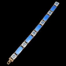 David Andersen 925s Norwegian Enamel Bracelet Blue