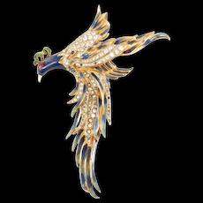 Corocraft Sterling Enamel Bird Of Paradise Brooch Rare