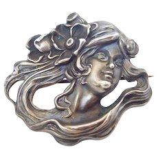 Oversize Original Art Nouveau Sterling Lady Brooch