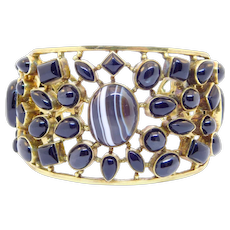 Wide Vermeil Banded Agate And Cats Eye Onyx Cuff Bracelet