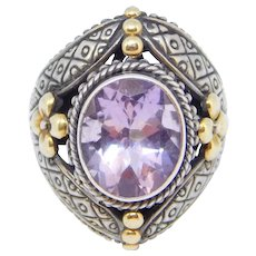 Samuel Behnam Bjc Designer 18k Sterling Ring Amethyst