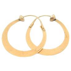 Victorian 14k Rose Gold Hoop Earrings 1.25 Inch Hoop