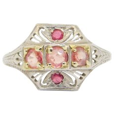Art Deco Platinum Filigree And Ruby Ring Beautiful