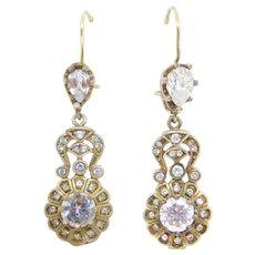 Beautiful 14k Silver Paste Drop Earrings Victorian Revival