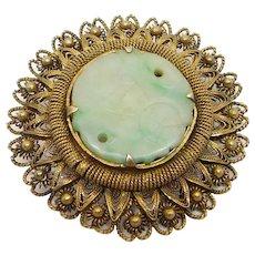 Old Carved Jade Bat Filigree Chinese Silver Brooch