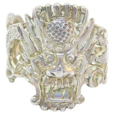 Old Ornate Chinese Silver Dragon Ring