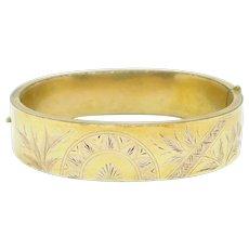 Ornate Engraved Victorian Gold Filled Bangle Bracelet