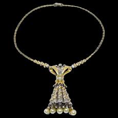 Early R. Derosa Sterling Pearls Rhinestone Necklace