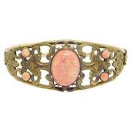 Ornate Victorian Brass Glass Czech Style Bangle Bracelet