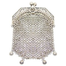 Darling Victorian 900 Silver Miniature Chatelaine Mesh Purse