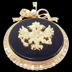 Victorian 18k Onyx And Rose Cut Diamond Heraldic Pendant Eagles